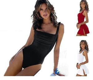 Ladies-Fashion-Swimming-Costume-Swimwear-Swimsuit-One-Piece-Skirt-6-8-10-12