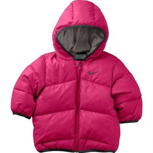 76eb979457fe Nike Kids Girls Pink Padded Jacket Infant Baby Toddler Coat Hooded ...
