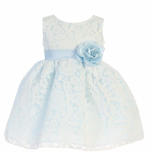 New Baby Toddler Kids Girls Floral Light Blue Dress Pageant Wedding Easter M726