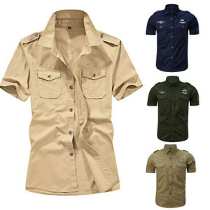 Men-039-s-Casual-Cool-Military-Pure-Blouse-Pockets-Short-Sleeve-Loose-T-shirt-Tops-L