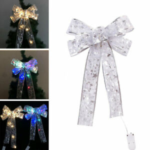 LED-Grosse-Schleifen-Bowknot-Weihnachtsbaum-Fuer-Weihnachten-Holiday-Home-Dekor
