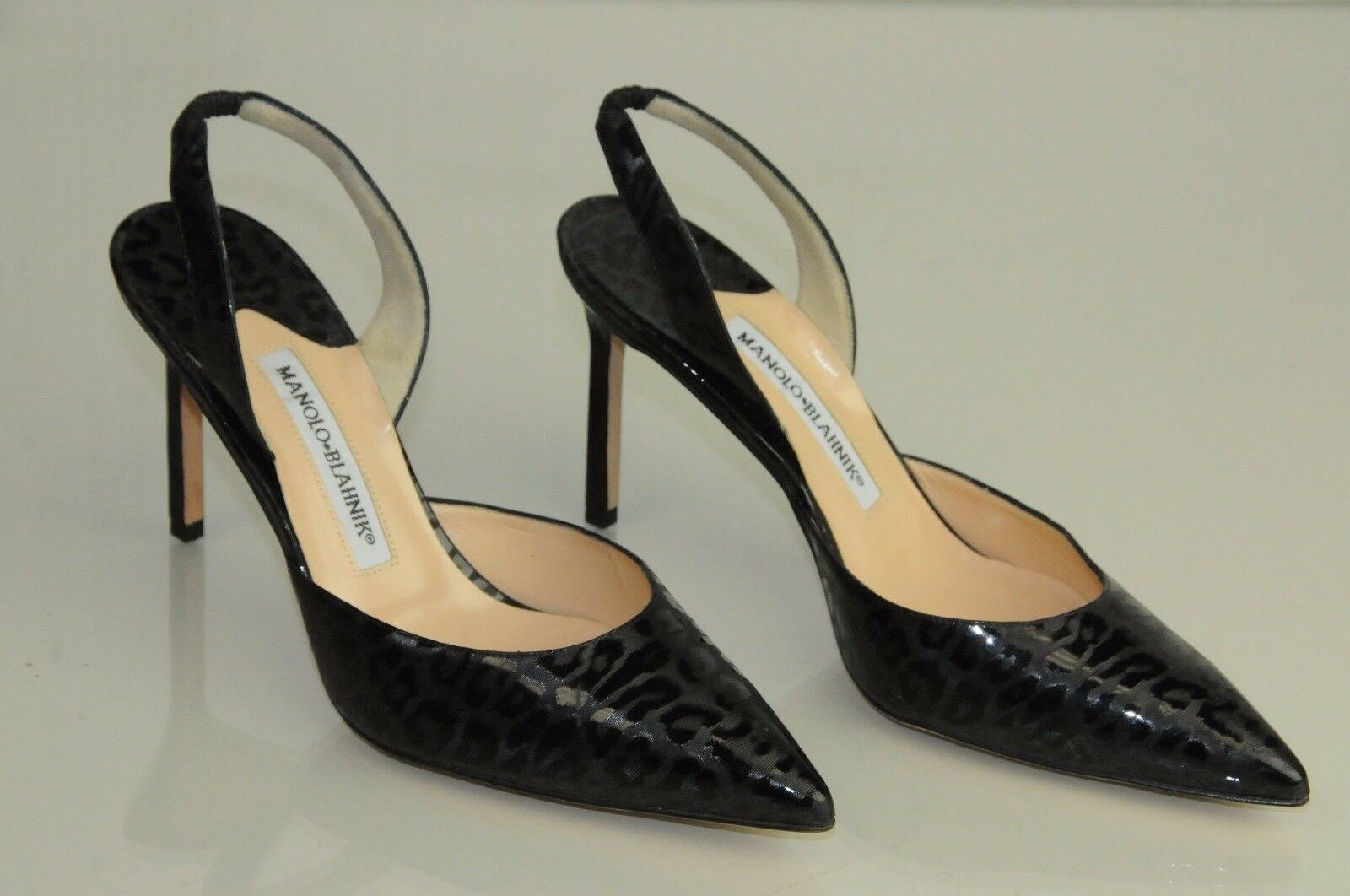 865 NEW MANOLO MANOLO MANOLO BLAHNIK Carolyne Black Textured LEOPARD Patent bb Heels SHOES 37 a621f7
