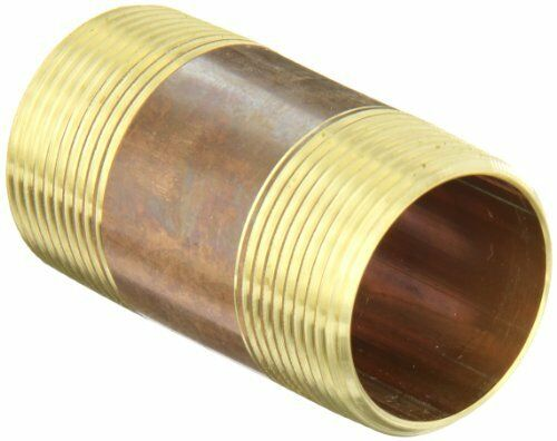 Anderson Metals 38300 Lead Free Red Brass Pipe Fitting, Nipple, 1-1/4 x 1-1/4