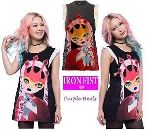 Iron-Fist-Rosaline-Charcoal-Girly-Ruffle-Tank-Tee-Size-M-UK10-or-XXL-UK16