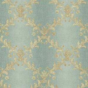 Trellis-Wallpaper-with-Aqua-Ombre-Stripe-amp-Gold-Metallic-Sheen-by-York-KP4983