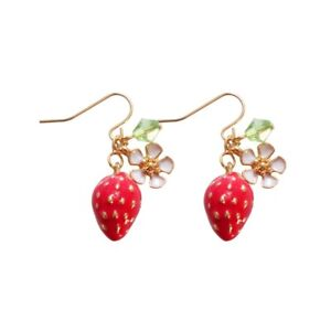 Red-Strawberry-White-Flowers-Green-Leaf-Hook-Earrings-Women-Girls-Gift-Jewelry