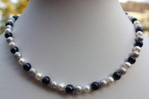 A2N 44 cm Echte Süßwasser Perlenschmuck Perlenketten Halsketten Ketten Collier