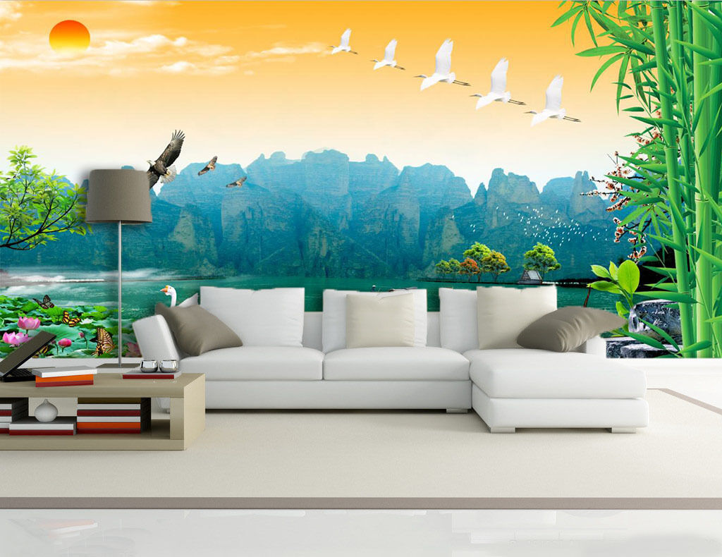 3D lake mountain sun Wall Paper Print Decal Wall Deco Indoor wall Mural