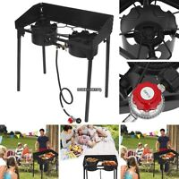Black Propane Explorer 2-burner Outdoor Gas Stove Cooking W/removable Leg Us