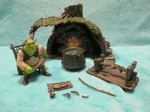 RARE-2001-McFarlane-Shrek-Swamp-House-Ogre-Action-Figure-Toy-Forest-Play-Set