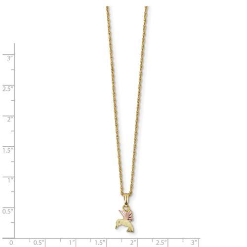 "18/"" 10K tri couleur or Black Hills Gold Hummingbird Pendentif Avec Collier"