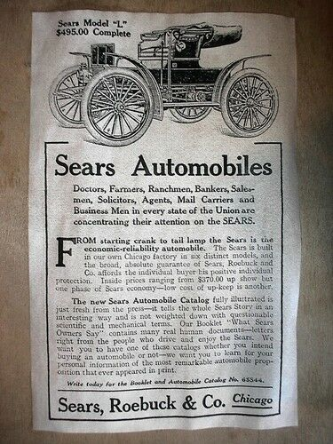 "168L VINTAGE REPRINT ADVERT SEARS AUTOMOBILE 11/""X17/"""