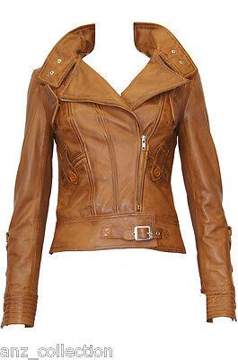 Trisha Tan Ladies Woman's Retro Designer Slimfit Washed Lambskin Leather Jacket