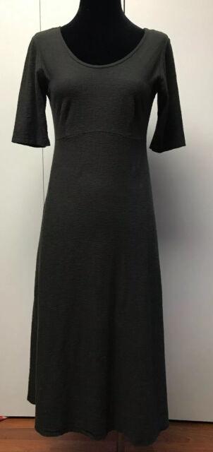 Cut Loose Cutloose Linen Jersey Elbow Sleeve Dress Lagenlook Charcoal Gray Small Ebay