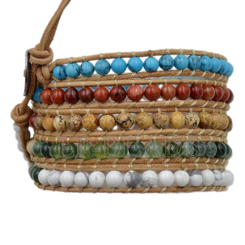 Homme Femme natural gemstone Wrap Véritable Cuir Bracelet Bracelet Perles Bijoux