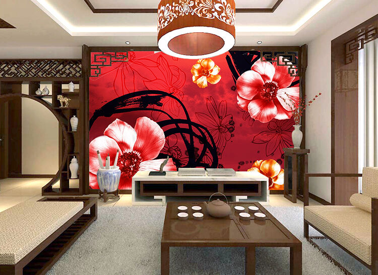 3D Hand-painted flowers 3 Wall Paper Print Wall Decal Deco Indoor Wall Murals