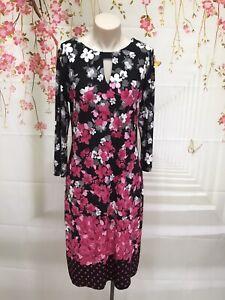 JANE LAMERTON Black, White And Pink Floral Long Sleeve Shift Dress Size 10 EUC