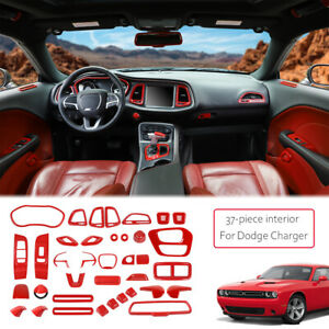 37pcs/set Full Set Decor Cover Interior Accessories for Dodge Challenger 15+ Red