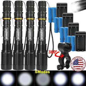 US-Tactical-T6-LED-350000Lumens-5Modes-18650-Flashlight-Aluminum-Zoom-Torch-Lot