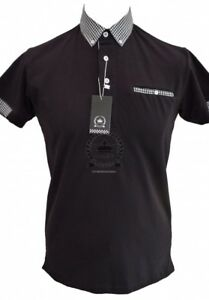 Men-039-s-Relco-Black-Polo-Short-Sleeve-With-Gingham-Check-Button-Down-Collar