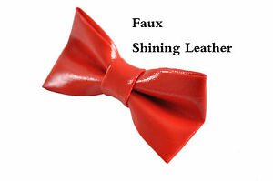 Kids Boy Bright RED Faux Shining Leather Bow Tie Wedding Party 1-6 Years old