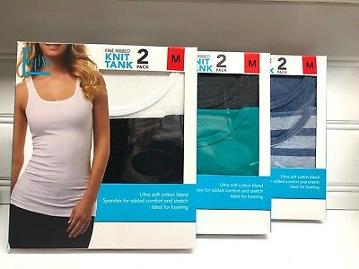 NEW 2-pack Women/'s Felina Fine Ribbed Knit Tank Blue Striped White Small S