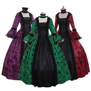 Womens-Renaissance-Dresses-Gothic-Costume-Princess-Medieval-Victorian-Ball-Gown