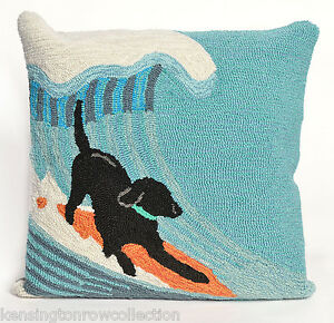 PILLOWS-034-RUFF-SURF-034-HAND-TUFTED-PILLOW-18-034-SQUARE-BLACK-LAB-ON-SURFBOARD