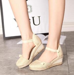 Ladies-Wome-039-s-Mid-Heel-Platform-Flatform-Ankle-Strap-Wedge-Shoe-Sandal-Size