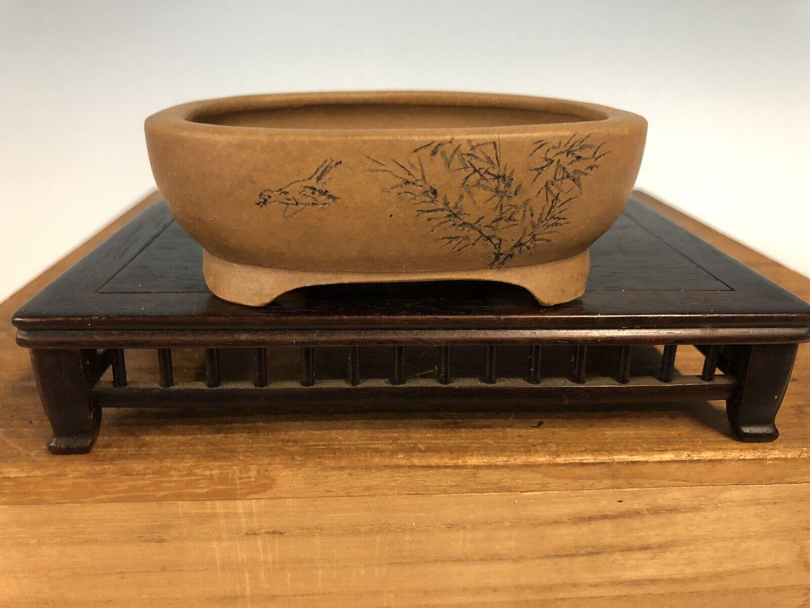 "Handmade Etched Shohin Größe Bonsai Tree Pot By Maruhei 3 3 4"""
