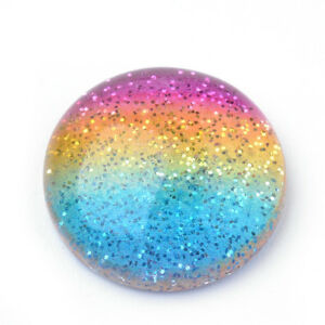 10-x-Colorful-Dome-Half-Round-Rainbow-Resin-Cabochons-with-Glitter-Powder-16x5mm