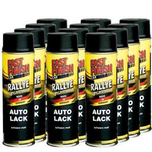 Autolack-Rallye-Lack-Spraydose-500ml-Fast-Finish-schwarz-matt-12-Stueck