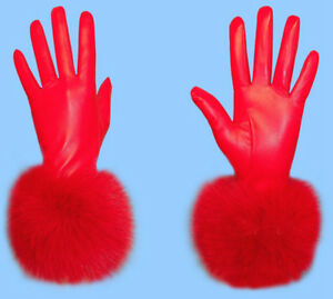 Red Leather Gloves with Raccoon Fur Trim Real Leather Gloves with Real Genuine Fox Fur Trim.
