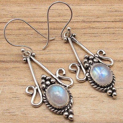 EARRINGS ETHNIC HANDMADEJEWELRY !! RAINBOW MOONSTONE Gems ! 925 Silver Plated