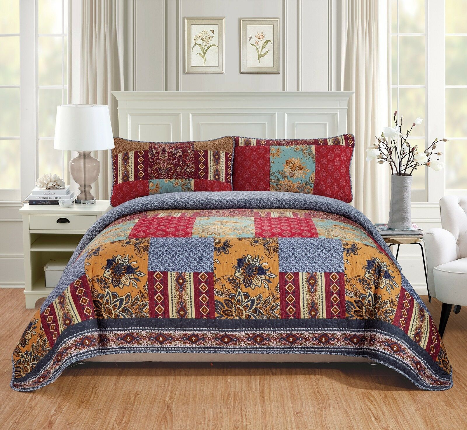 Fancy Linen Quilted Coverlet Set Patchwork Floral rot Blau Ivory All Größes New
