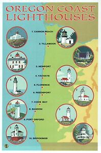 Oregon Lighthouses Map Oregon Coast Lighthouses, Newport, Florence etc   Modern