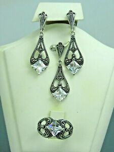 Turkish Handmade Jewelry 925 Sterling Silver Zircon Stone Women Earrings