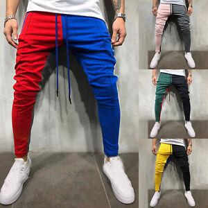 Men-039-s-Track-Pants-Sports-Jogging-Bottoms-Joggers-Patchwork-Slim-Fit-Trousers-US