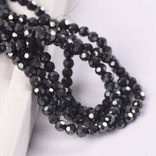 200pcs 4mm Round Ball Faceted Crystal Glass Loose Spacer Beads Lot Wholesale DIY
