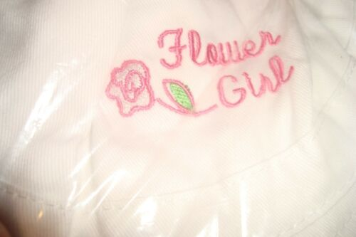 Youth *New Wedding Flower Girl Bucket Hat  100/% White Cotton-Embroidered Script
