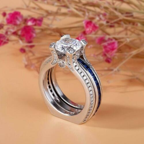 Certified 14K White Gold 3.65Ct Round Lab-Created Diamond Engagement Ring Sets