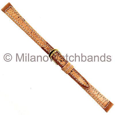 10mm Speidel Gaucho Tan Stitched Genuine Leather Ladies Watch Band Regular