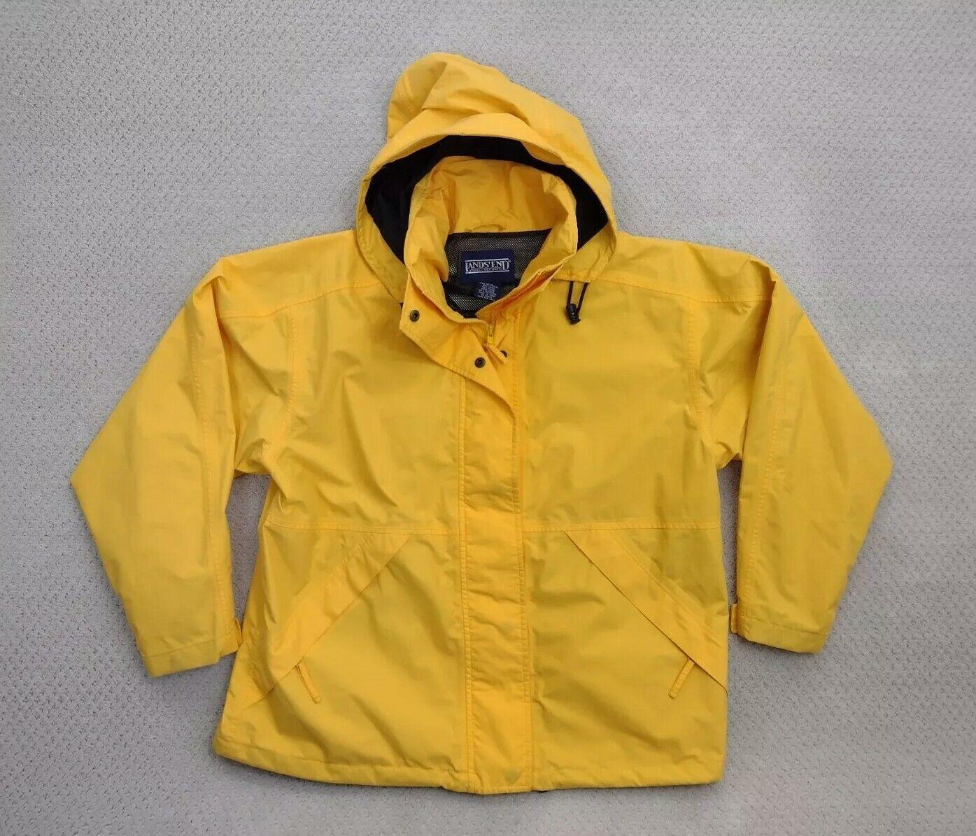 Lands' End Women's Mesh Lined Rain Jacket Yellow Sz Large 14-16 Windbreaker
