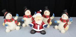 "5X Ganz hand painted resin Christmas figurines Santa Claus & Snowman 6"""