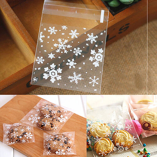 AC/_ EG/_ 100x Christmas Snowflake Santa Claus Cookie Candy Biscuit Gift Cello Bag