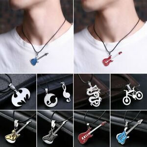 Stainless Steel Guitar Leather Pendant Necklace Womens Punk Men/'s Jewellery Gift