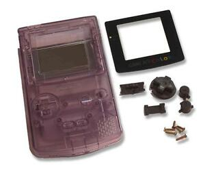 Game-Boy-Gameboy-Color-GBC-Clear-Purple-Shell-Case-Housing-w-Screen-amp-Tools-UK