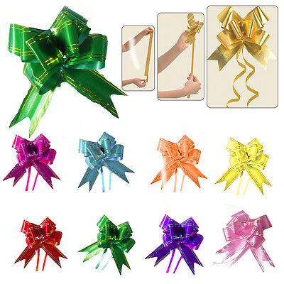 10* Small Pull Back Bows Gift Wrap 12MM Birthday Wedding Party Decor Ribbon
