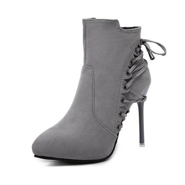 stiefel niedrig stilett 10 cm knöchel grau komfortabel simil leder 9580