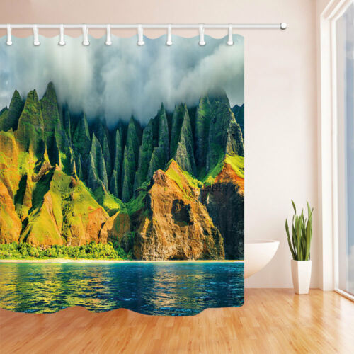 Na Pali Coast Kauai Ocean Mountain Waterproof Bathroom Fabric Shower Curtain 71/""